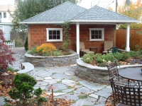 outdoor room living stone patio roof
