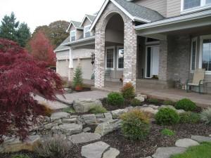 plants stone fountain