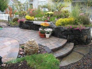 stone wall paver steps