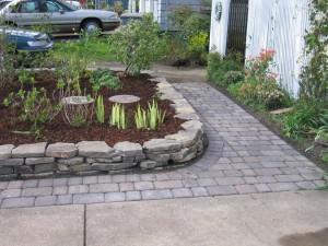 stone curb paver path