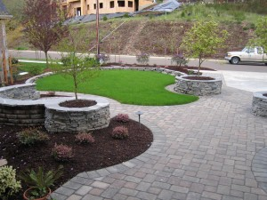 path stone planter beds lawn