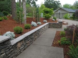 stone wall formal path concrete