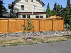 stone wall wood fence