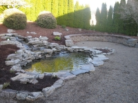water pond stone feature patio