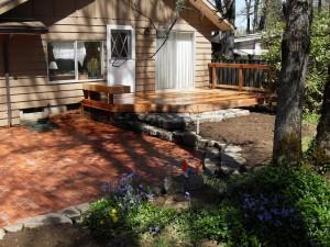 brick patio wood deck