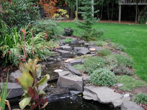 creek fountain stone natural water feature pond