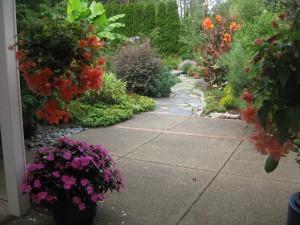 patio concrete stone flowers