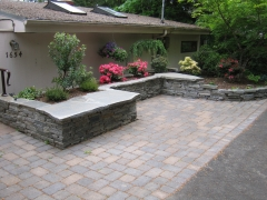 patio with stone benches