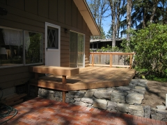 wood decking over stone